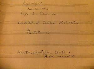 Kansalliskirjastolle luovutetun Erkki Melartinin sävellyksen alkuperäiskäsikirjoistus.